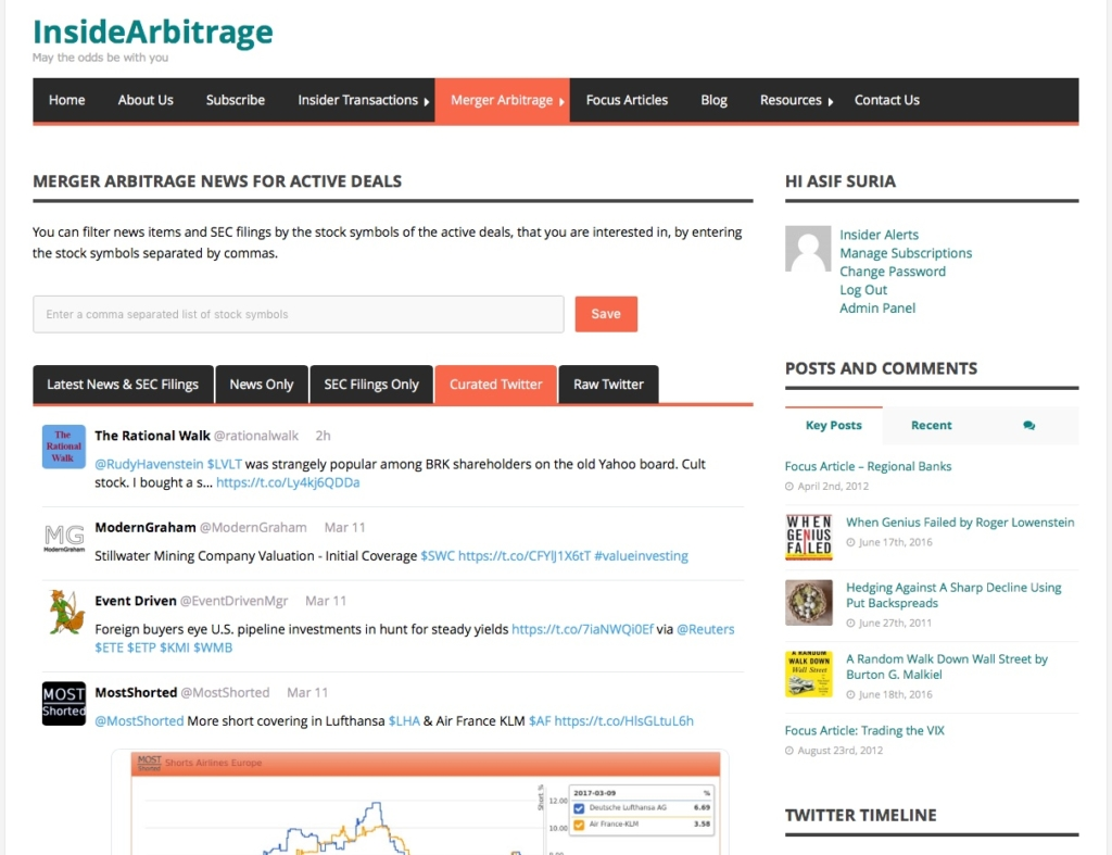 Merger Arbitrage News, SEC Filings and Curated Tweets