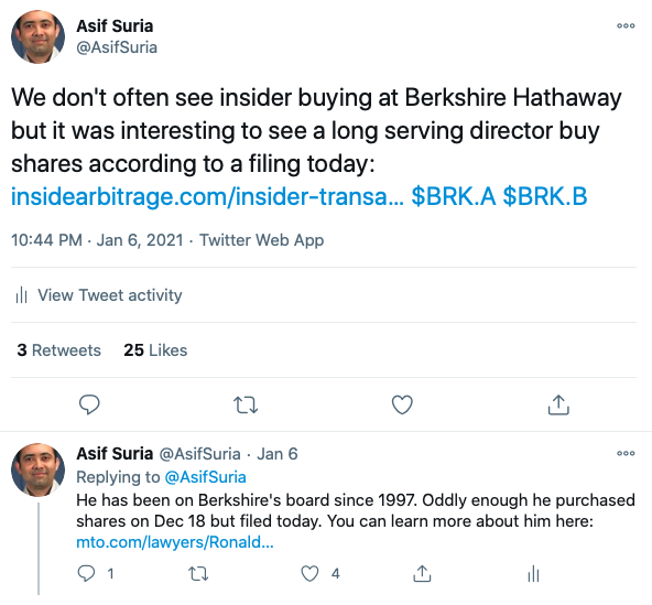 Berkshire Hathaway Insider Purchase Tweets